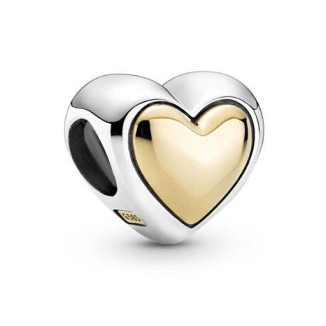 фотография шарм пандора золотое сердце (с позолотой 585 пробы) 799415С00