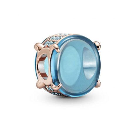 фотография шарм пандора овальный кабошон (цвет - голубой) 789309С01
