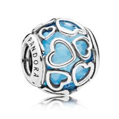 фотография шарм пандора ажурные голубые сердца