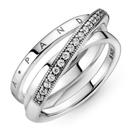 фотография кольцо пандора трехполосное 199057С01