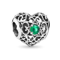 фотография шарм пандора кружевное сердце (с зеленым камнем) 791784NRG