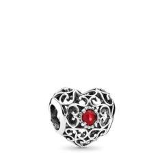фотография шарм пандора кружевное сердце ( с красным камнем) 791784SRU